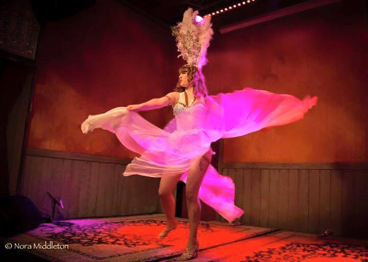 Lola Demure, burlesque, panel skirt, costume design, headdress, showgirl, showgirl headdress, whiskey and fuego